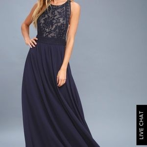 Lulus navy blue and nude long party dress
